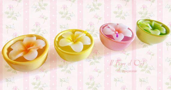 Candele a forma di fiori frangipani in graziose di ilFioredOro, €9.90