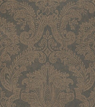 Equus Black/Bronze (250 C04) - Paper Moon Wallpapers - This stylish wallaper features a classical damask design in a classic black and bronze colour combination. Other colour ways and coordinating papers available. Paste the wall product. Please request a sample for true colour match.