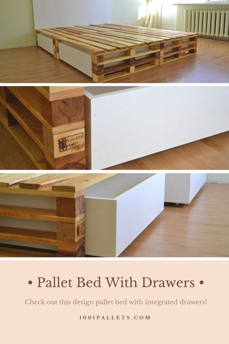 A fantastic palletbed with drawers made from discarded wooden pallets, I love the design of this bed!