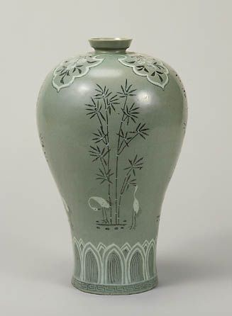 Celadon vase with inlaid bamboo and crane, 2nd half of 12th century