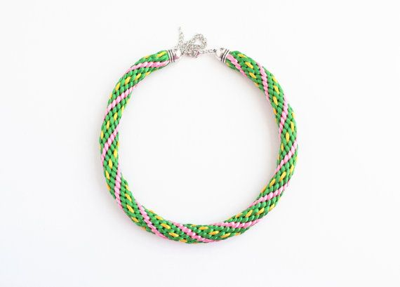 Green yellow and pink kumihimo necklace statement by elfinadesign