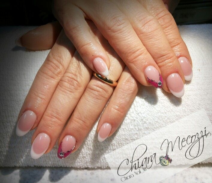 Almond gel nails..french manicure and accent manicure with strass.. ;)