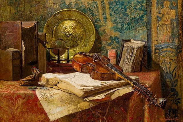 All Art: Hugo Charlemont (Austrian, 1850-1939) - Still life with viola da gamba, 1911 (Oil on panel) - Brother of the painter Eduard Charlemont, this Austrian artist studied at the Academy of Vienna. His early works show a marked taste for the richly ornate and detailed interior scenes. He later turned to the painting of landscapes and still life. (Németh György)