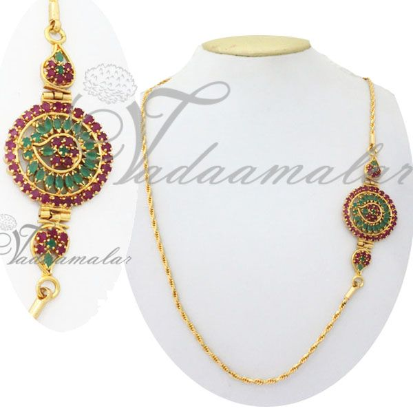 Ruby and Emerald mugappu chain  http://www.vadaamalar.com/side-pendant-chain-5002.html
