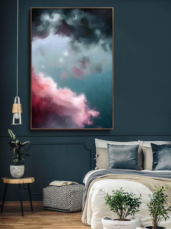 Cloud Painting, Abstract Art Print, Abstract Giclee, Green, Pink, Modern Art , Minimalist Painting, Expressionist Art – READY TO HANG