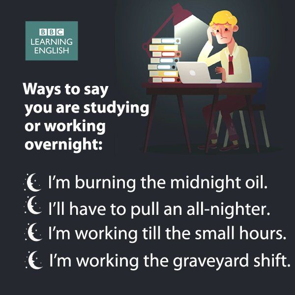 Ways to say you are studying or working overnight #LearnEnglish #EnglishVocabulary @English4Matura