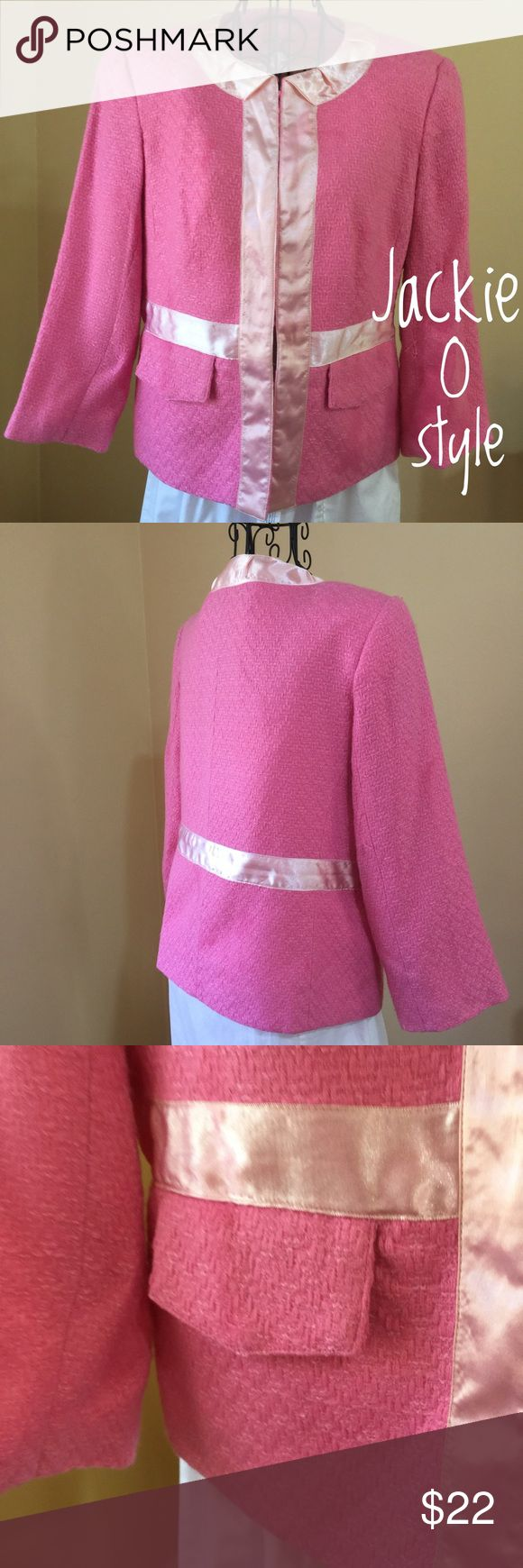 """Pink Herringbone Jacket A huge Nod to Jackie """"0"""", in this classic pink Herringbone Jacket. Silk lined, Satin ribbon detailing. Small snag left inner arm. Otherwise good condition. Truest color is the back shot. I welcome reasonable offers 💖💖💖 Walter Baker Jackets & Coats"""