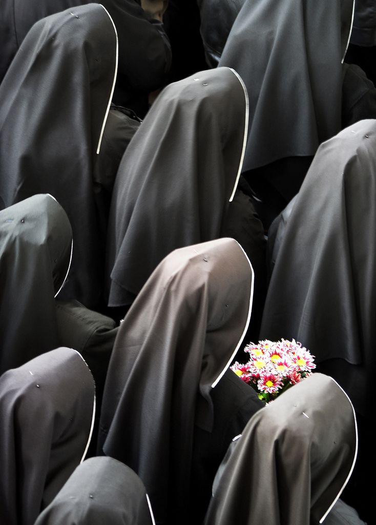 Nuns with flowers