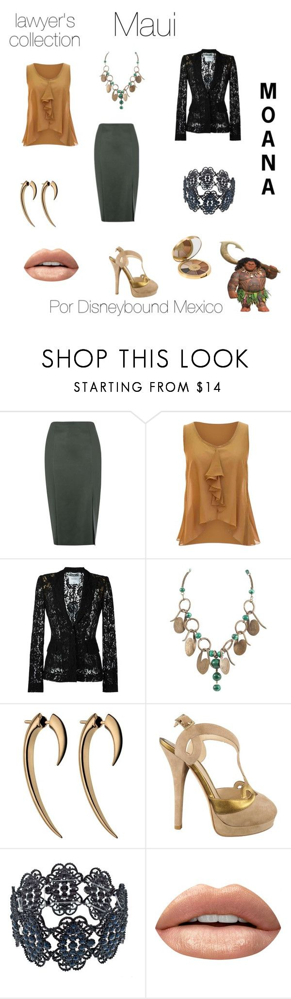 """Maui"" by disneybound-mexico ❤ liked on Polyvore featuring Warehouse, jon & anna, Moschino, Fendi, Huda Beauty, tarte, disney, moana, disneyboundmexico and lawyerscollection"