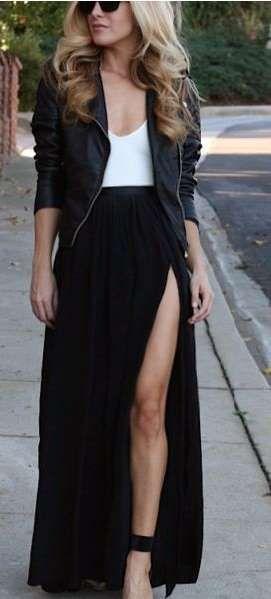 10 Outfits sensuales con faldas largas que te van a encantar 01a73be25da