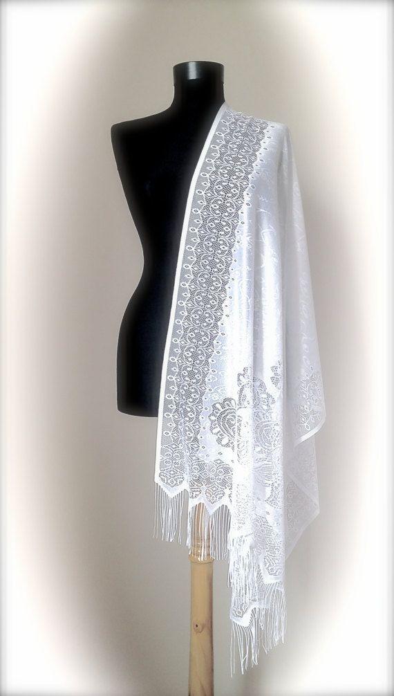 White Lace Wedding Shawl Soft Tulle Elegant By RosaShawls