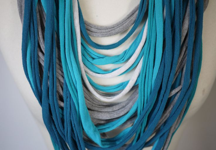 Upcycled t-shirt scarf: Turquoise, gray and white strips[403] by StripsUp on Etsy