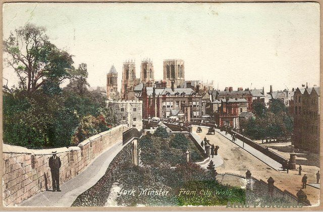 Antique postcard of York Minster cathedral as seen from the city walls in York, Yorkshire, England.