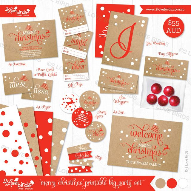 2 Love Birds Kraft Merry Christmas Big Set#2LoveBirds #Kraft #MerryChristmas #Christmas #printables #2Lovebirdsblog #red