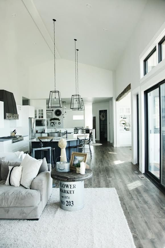 Custom Built Modern Farmhouse Home Tour with Household No 6 | Great Room - kitchen living room - open living room