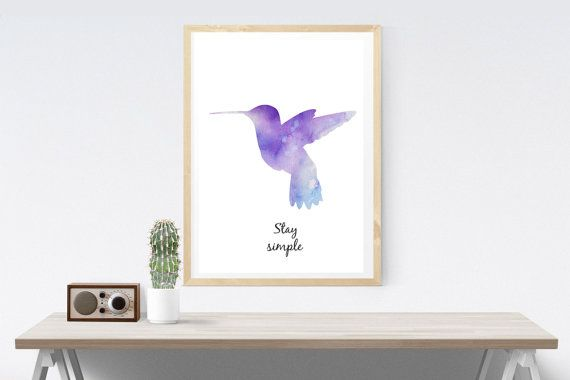 Hummingbird / Stay Simple Poster (Watercolor)/ Colibrì in Watercolor - Stampe Digitali