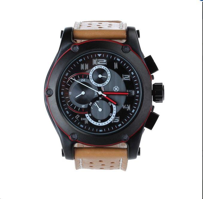 Venda quente Da Moda relógio de Pulso dos homens Esportes Caixa de Aço Inoxidável com Pulseira de Couro Genuíno Relógio de Quartzo Relógio relogio masculino 2017 - Loja Loja