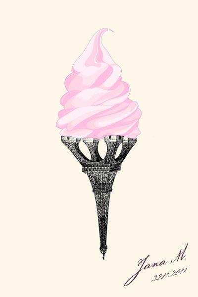 Duas coisas que adoro sorvete+paris♥
