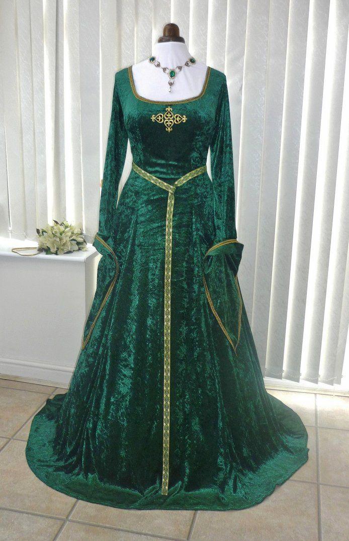 Vert et or Lotr Pucelle marion Princesse Fiona Robe en velours