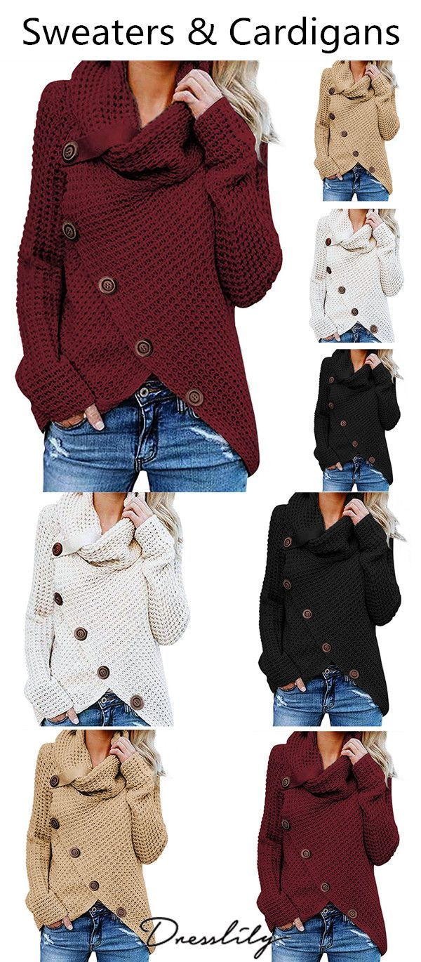 Five Buckle High Collar Pullover Solid Color Women s Sweater.Extra 12% off  code DL123  dresslily  sweater 8059b5655