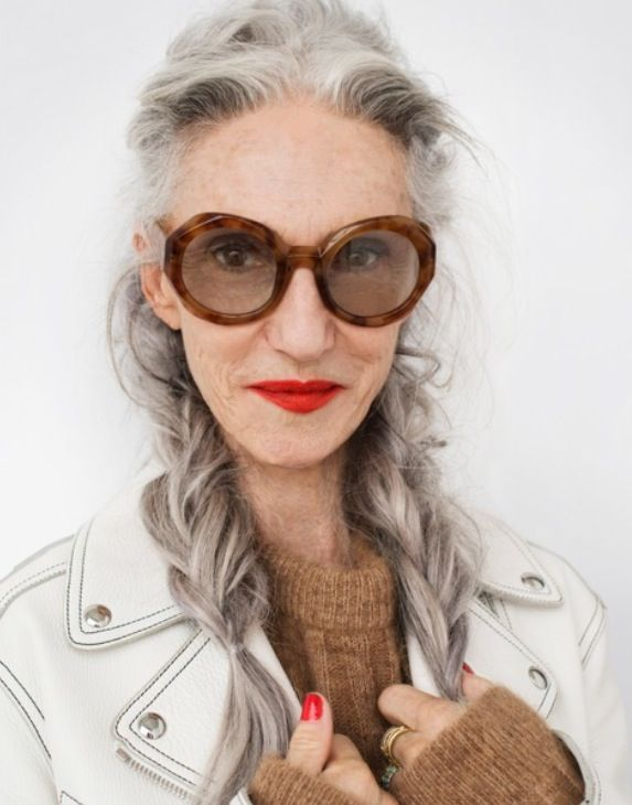 silver grey hair and brown colours
