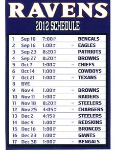 BALTIMORE RAVENS 2012 SCHEDULE