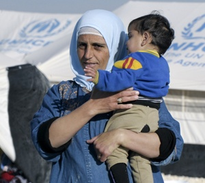 A woman and child at a refugee camp in Jordan