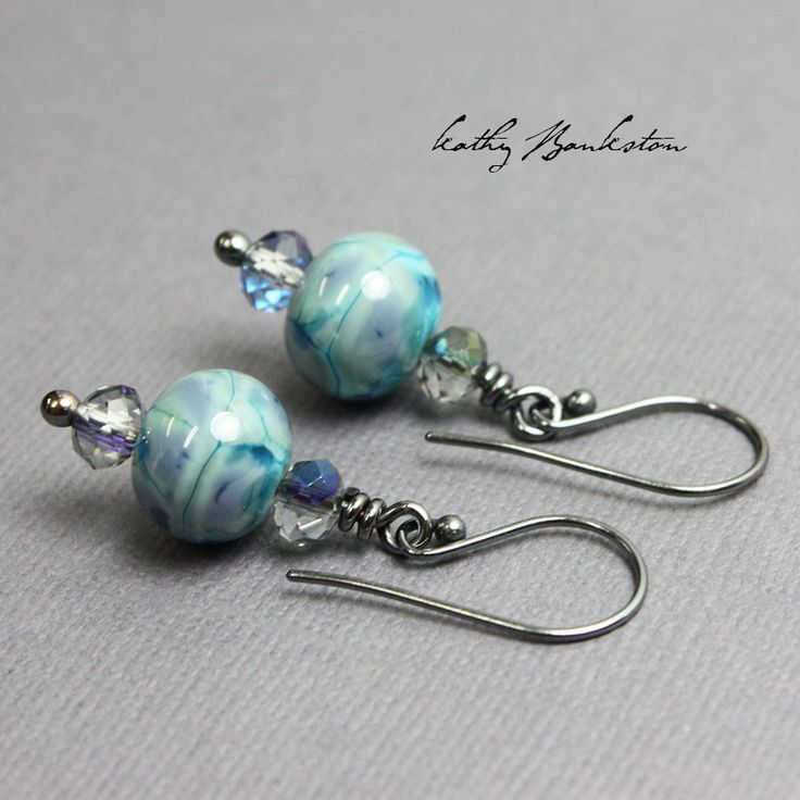 Turquoise Blue Earrings with Grey Crystals, Blue Bead and Crystal Earrings, Blue Bead Earrings, Blue Earrings
