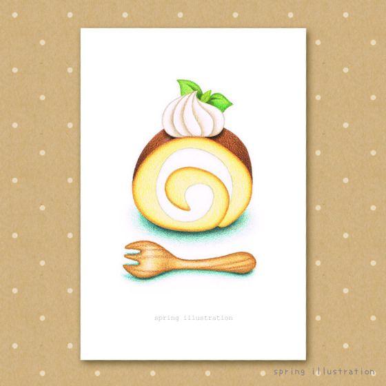 スイーツのイラストポストカード【ロールケーキ】