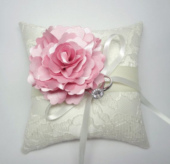 Lovely wedding ring pillow Indian Pink  Bloom on Cream lace Ring Pillow on Etsy, $43.38