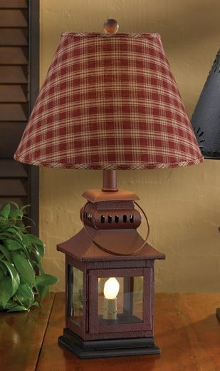 """$51.95 Check out the deal on Red Iron Lantern Lamp at Primitive Home Decors-20"""" Tall x 5-1/2"""" Square (Base w/ wood finial) Three-way switch featuring a night light. Lamp is 60 Watt bulb, nightlight is 6 Watt bulb. Shown with 12"""" Shade (sold separately) chest in front of window"""