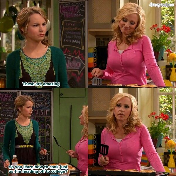 Disney Channel Good Luck Charlie. Teddy Duncan and Amy Duncan. Bridgit Mendler and Leigh Allyn. Cooking!
