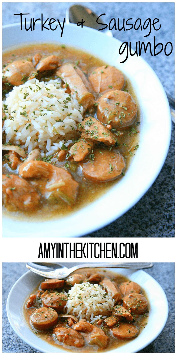 Forget sandwiches, this turkey and sausage gumbo recipe is perfect for all that leftover turkey meat in the fridge!  Turkey and Sausage Gumbo | Amy in the Kitchen