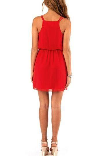 Red Spaghetti Strap Pleated Chiffon Dress - US$11.95 -YOINS