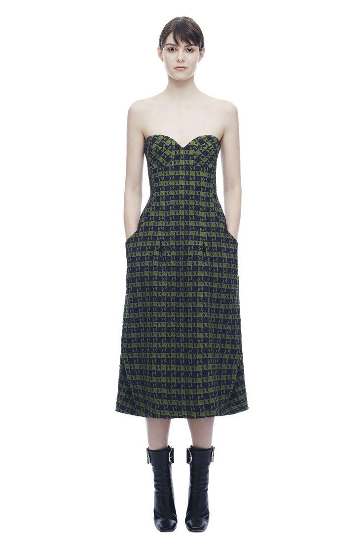 Bustier Drape Midi Dress, Printed