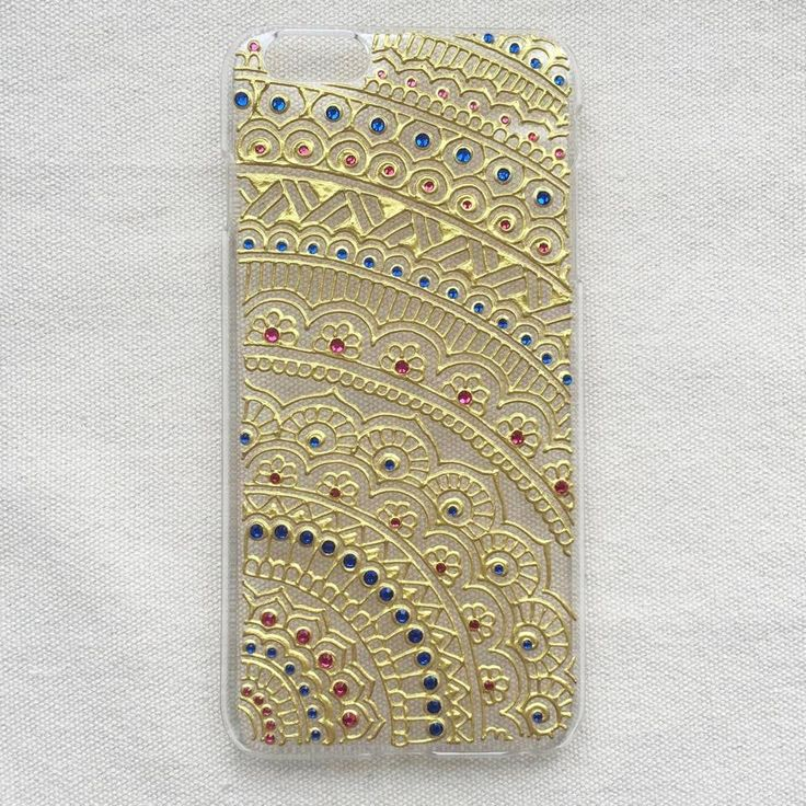 iPhone 6 plus Case clear 3D Hand Painted with Gold & Rhinestone iPhone 6s plus Case Galaxy S5 Case Sony Art Henna Mandala mehndi Hand Drawn by SnowHennaArt on Etsy https://www.etsy.com/listing/256573971/iphone-6-plus-case-clear-3d-hand-painted