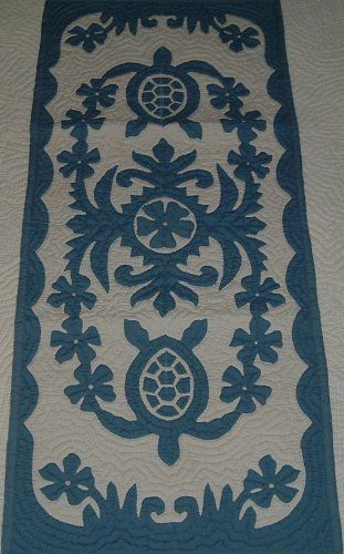 Hawaiian quilt table runner 100% hand quilted/hand appliqued Hawaiiana by Hawaiian Quilts & Gifts. $59.95. There's a count of 6-8 stitches in an inch. Dusty Blue Turtle (Honu) Design. 100% Brand New Hawaiian Handmade Table Runner / Wall Hanging 20x50. 100% Hand Quilted and 100% Hand Appliqued. It has 3 loops in the back where you can insert a rod for easy hanging. ALOHA, this quilt is made of 65% Polyester and 35% Cotton. Which makes the quilt 100% machine washable. We hand...