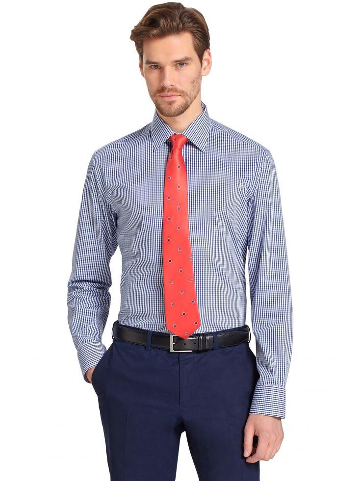 Granatowa koszula męska ze wzorem w kratę. Tylko wysokiej jakości materiały!