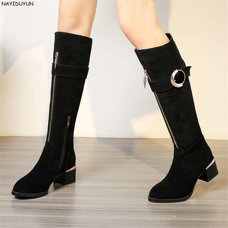 Nayiduyun модные женские туфли черный, серый корова замши Высокие сапоги с круглым носком квадратный каблук вечерние туфли лодочки Повседневное зимняя обувь купить на AliExpress