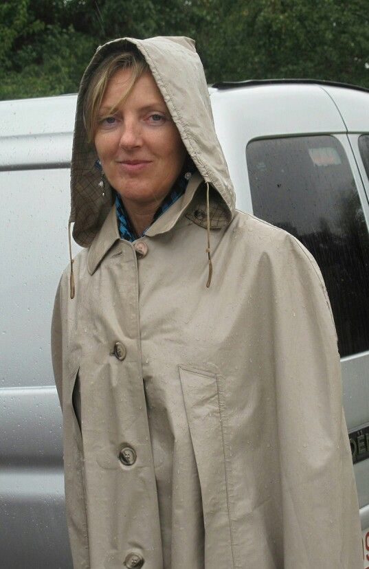 Marvellous rubberised mackintosh cape with a detachable hood. Possibly a Klepper mac but I am not really sure.