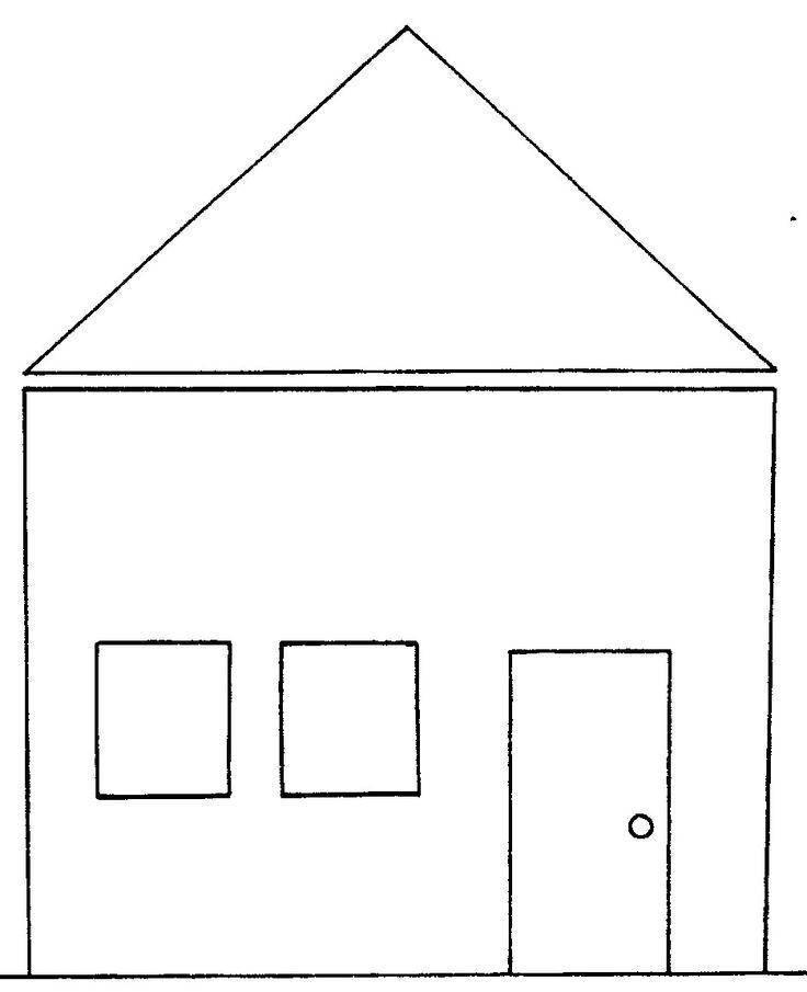 картинка раскраска домик из геометрических фигур
