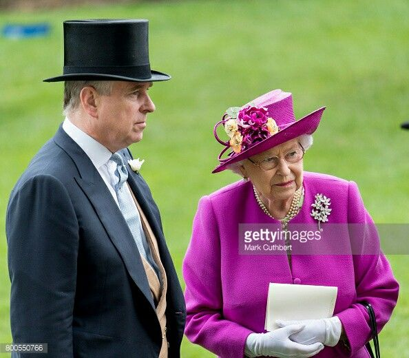 Prince Andrew and Queen Elizabeth II at Royal Ascot day five. June 24 2017.