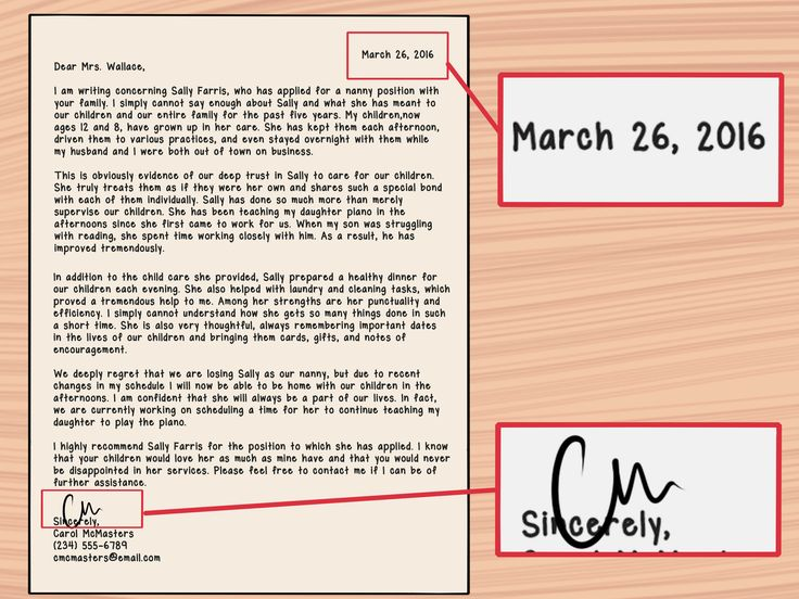 how write letter recommendation for nanny with sample