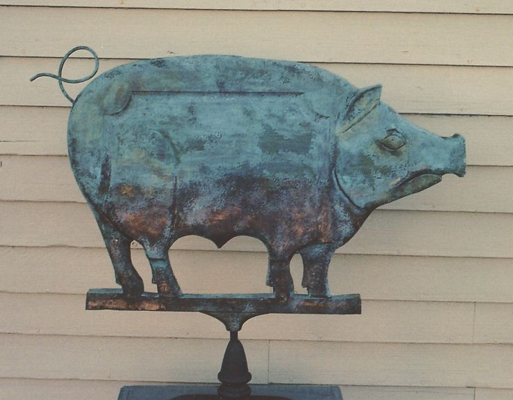 """Pig weathervane carved from early 19th C oak church pew - 34""""L  Carved by Jay D Miles  kickingbullgallery.com"""