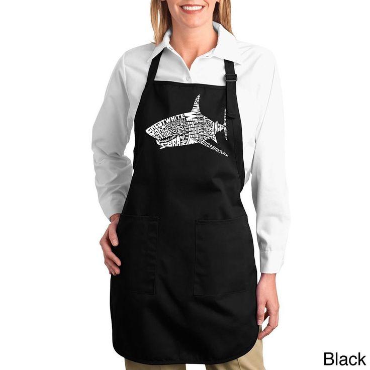 Los Angeles Pop Art Shark Names Cotton Kitchen Apron (