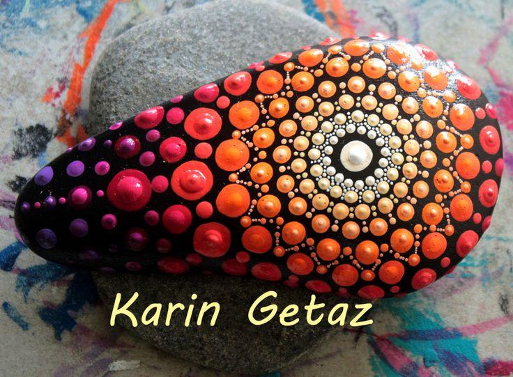 painted rock, mandala stone, painted stones, meditation rock, red mandala…
