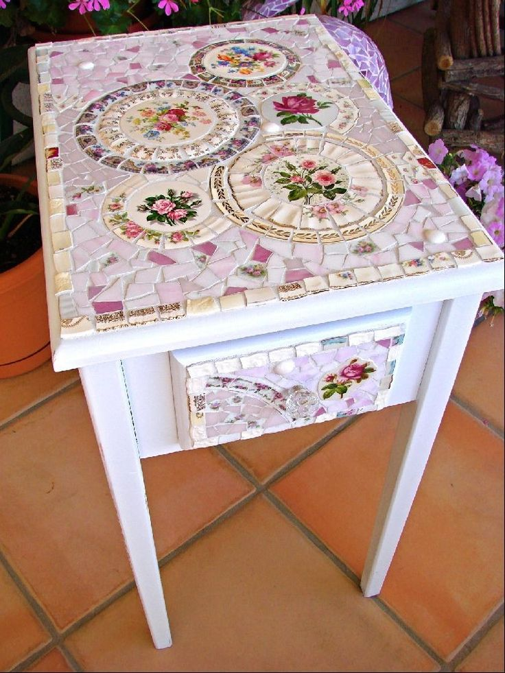 Mosaic Side Table with Vintage China