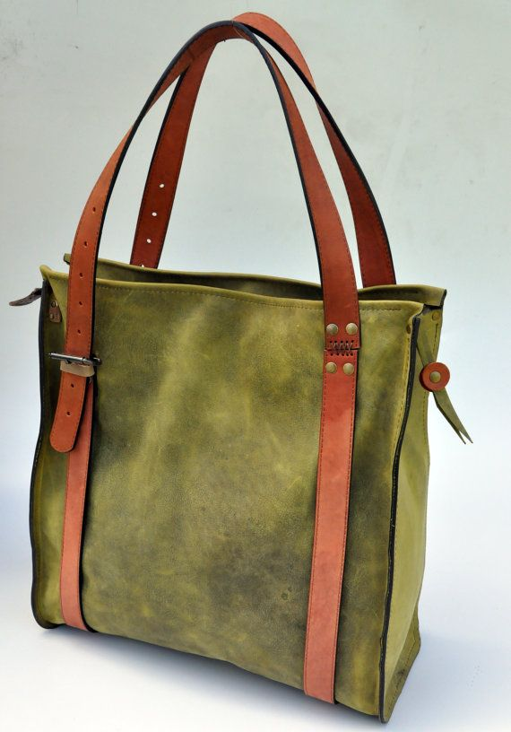 green leather oversize  tote bag on Etsy, $180.00