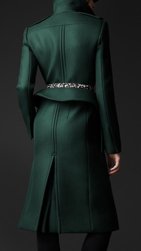 Wool Twill Peplum Coat in Dark Racing Green   Burberry
