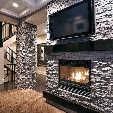 Stone double fireplace in contemporary two sided stone 2 sided fireplace ideas